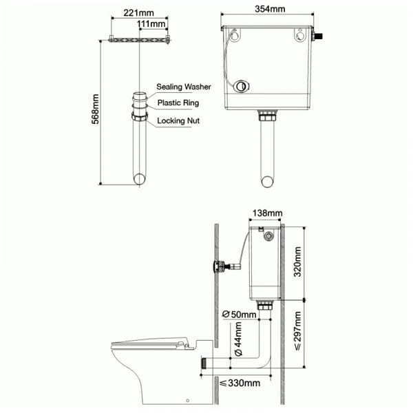 Pura Cable Operated Concealed Dual Flush Cistern
