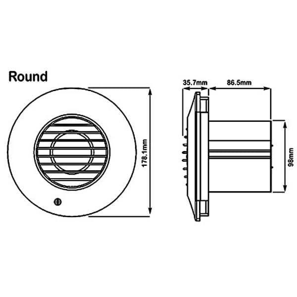 Xpelair 93010AW Simply Silent DX100PIRR PIR Round