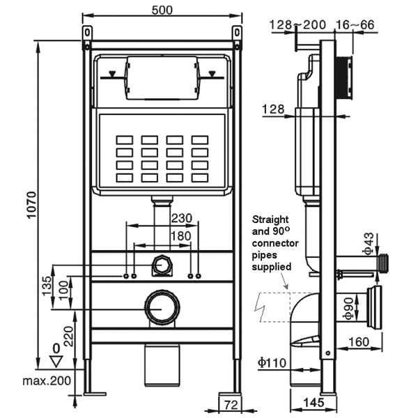 Pura Wall Hung WC Bowl Frame System Dual Flush