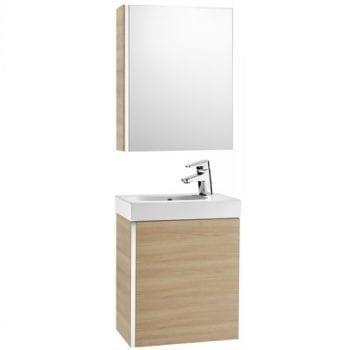 Roca Mini Unik With Mirror Cabinet Textured Oak