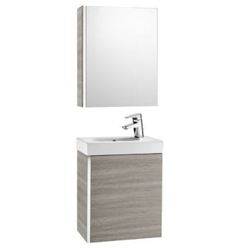 Roca Mini Unik With Mirror Cabinet Textured Grey