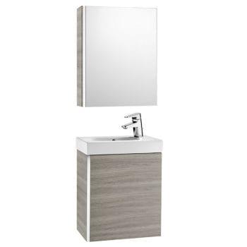Roca Mini Unik With Mirror Cabinet Textured Grey