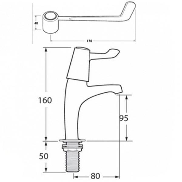 Deva DLV103 6 Inch Lever Action Kitchen Sink Taps