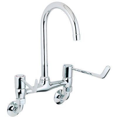 Deva Wall Mounted 6 inch Lever Bridge Sink Mixer