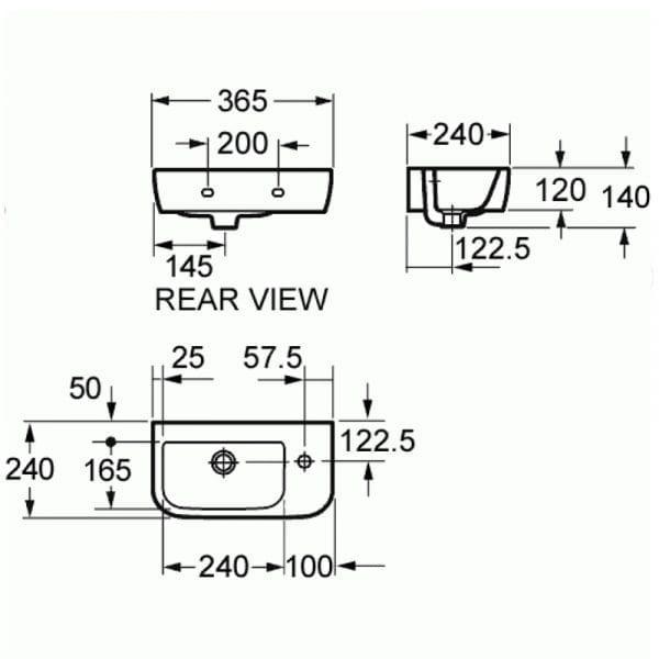Pura Essence 37cm Right Hand Basin 1 Tap Hole