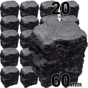 60mm Artificial Coals Large For Gas Fires x20 Coals