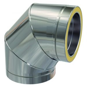 Twin Wall 90 Degree Bend 125mm Stainless Steel