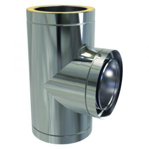 125mm Twin Wall Tee 90 Degree Stainless Steel