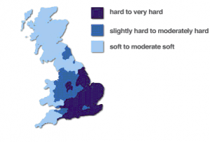 Hard water areas that would benefit from water softeners.