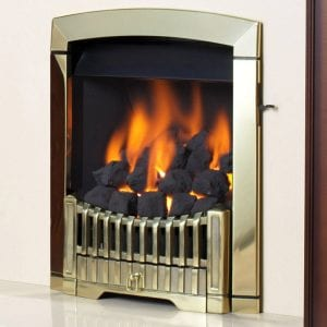 Flavel Rhaposdy Brass gas fire