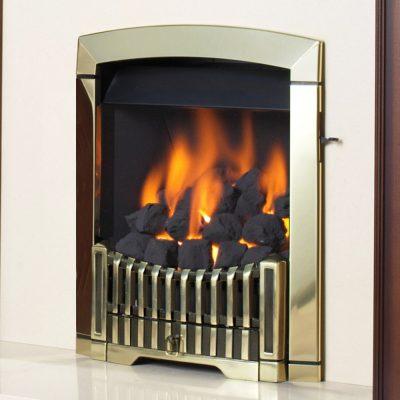 Flavel Rhaposdy antique brass gas fire