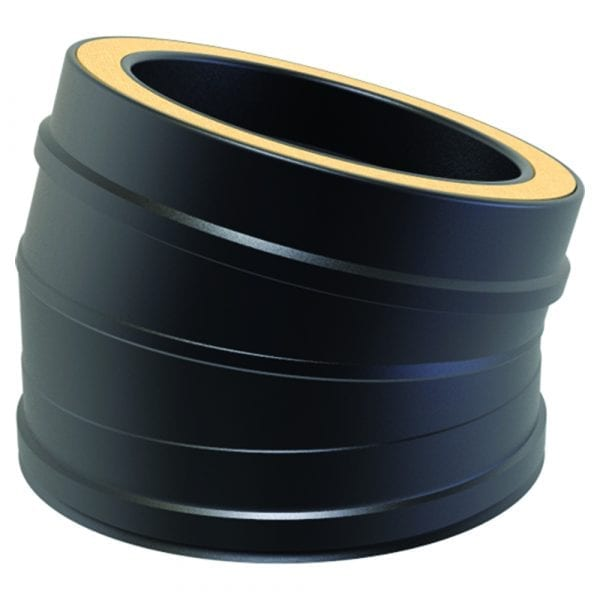 Twin Wall 15 Degree Bend 125mm Black