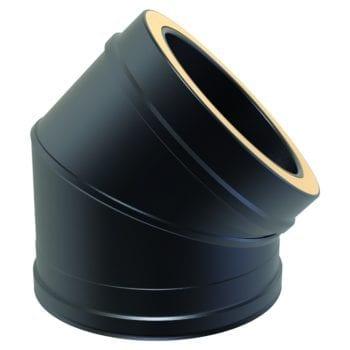 Twin Wall 45 Degree Bend 125mm Black
