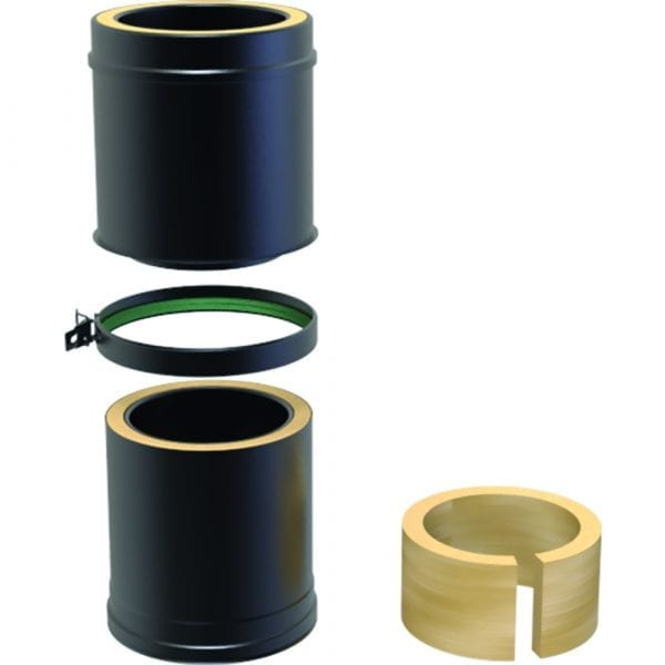 Twin Wall Insulated Adjustable Pipe 350-500mm - 125mm Black