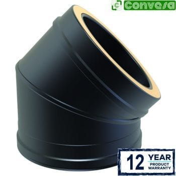 Twin Wall 45 Degree Bend 150mm Black