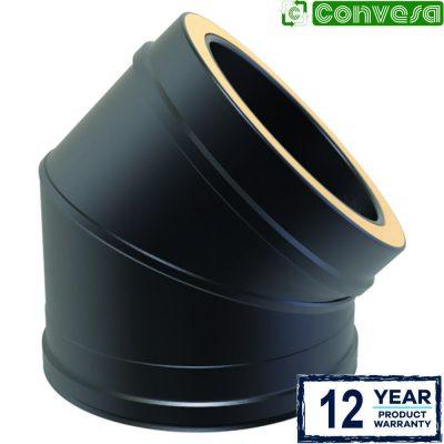 Twin Wall 45 Degree Bend 150mm Black