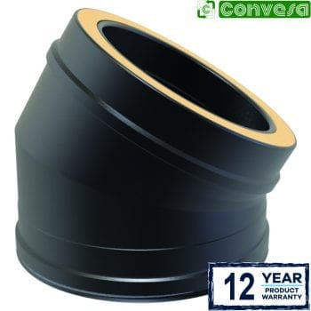 Twin Wall 30 Degree Bend 150mm Black