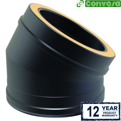 Twin Wall 30 Degree Bend 150mm Black