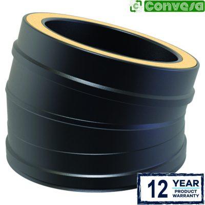 Twin Wall 15 Degree Bend 150mm Black