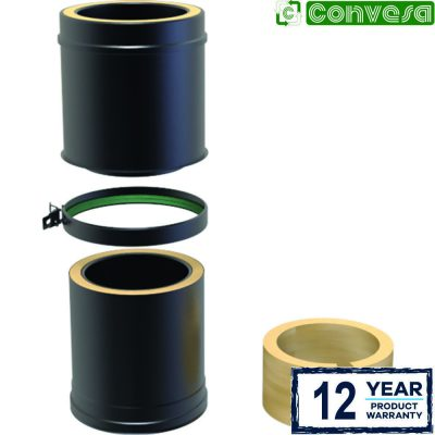 Twin Wall Insulated Adjustable Pipe 250-350mm - 150mm Black