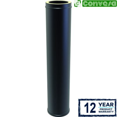 Twin Wall Insulated Pipe 1000mm - 150mm Black