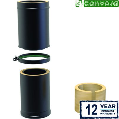 Twin Wall Insulated Adjustable Pipe 350-500mm - 150mm Black
