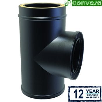 Twin Wall 90 Degree Tee 150mm Black