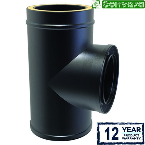 Twin Wall 90 Degree Tee 150mm Black