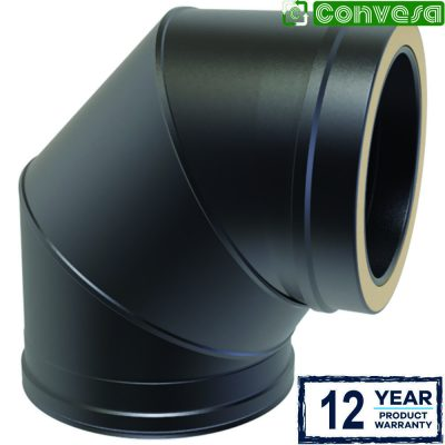 Twin Wall 90 Degree Bend 150mm Black