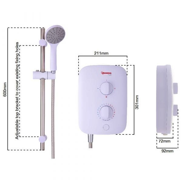 Redring Pure 7.5KW Electric Shower
