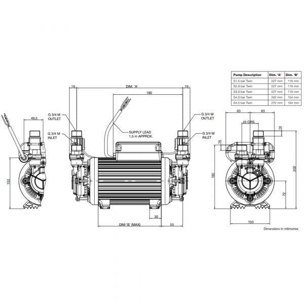 Grundfos Amazon Pump 2 Bar Twin Positive Heavy Duty STP-2.0 B