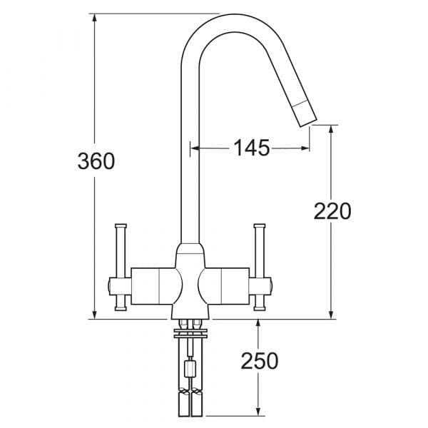 Deva TAUR130 Taurs Sink Mixer Swival Spout