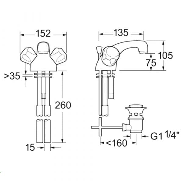 Deva DCM113-501 Profile Gold Mono Basin Mixer c/w Waste