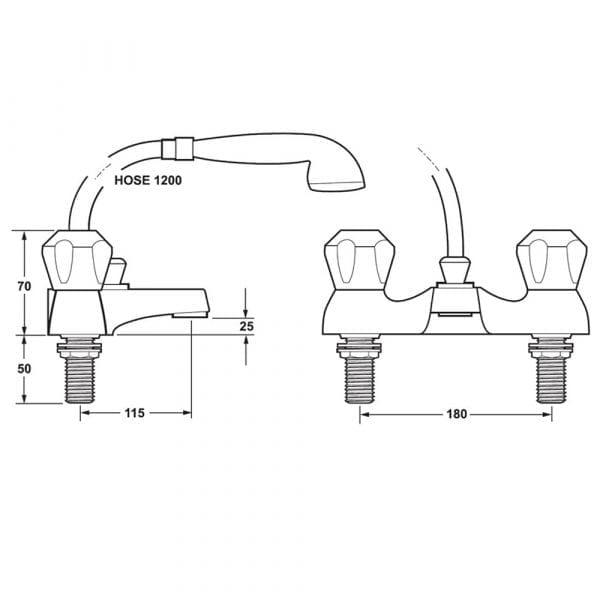 Deva DCM106-501 Profile Contract Gold Deck Mounted Bath Shower Mixer