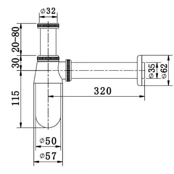 Pura Round Bottle Trap Chrome Metal TB200