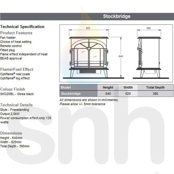 Dimplex Stockbridge Stove SKG20BLN Electric 2KW