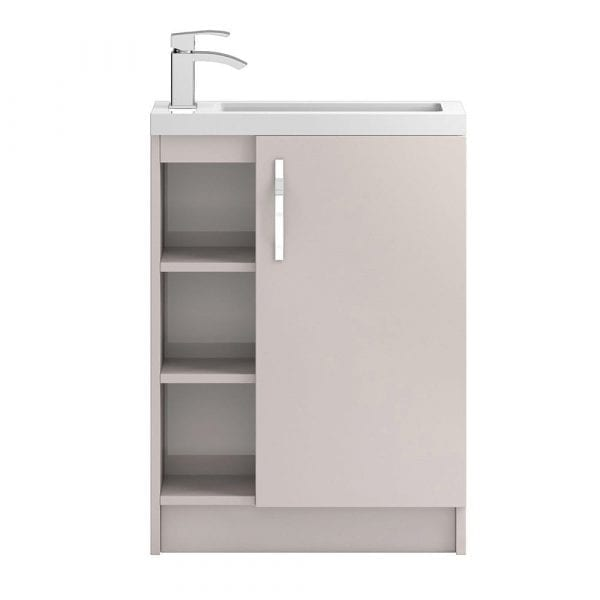 Hudson Reed Apollo Slimline Vanity Open Shelves 600mm Cashmere Gloss