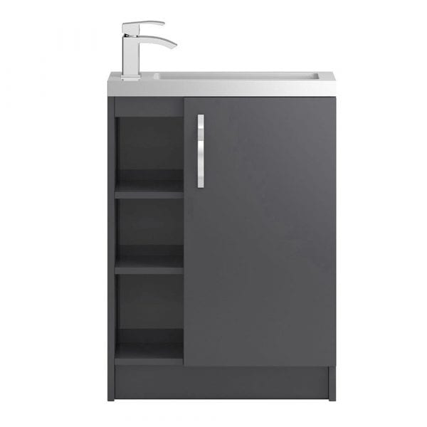 Hudson Reed Apollo Slimline Vanity Open Shelves 600mm Grey Gloss