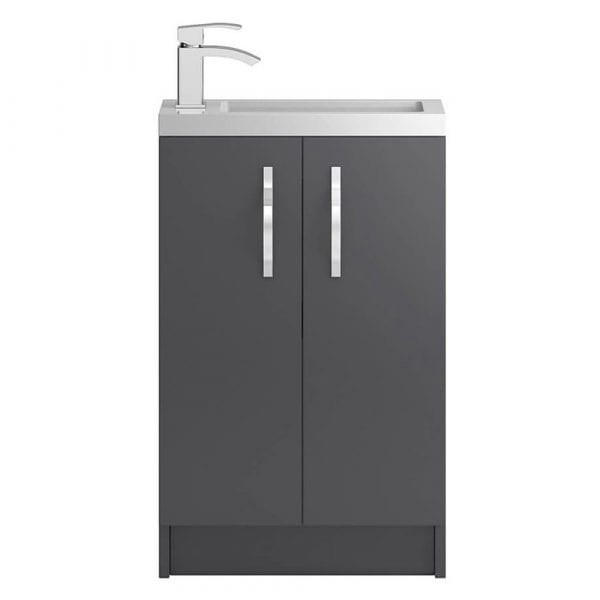 Hudson Reed Apollo Slimline Vanity Unit 500mm Grey Gloss