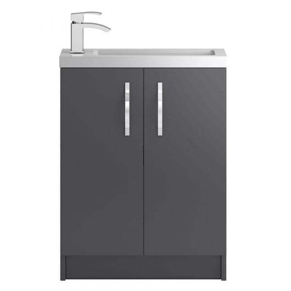 Hudson Reed Apollo Slimline Vanity Unit 600mm Grey Gloss