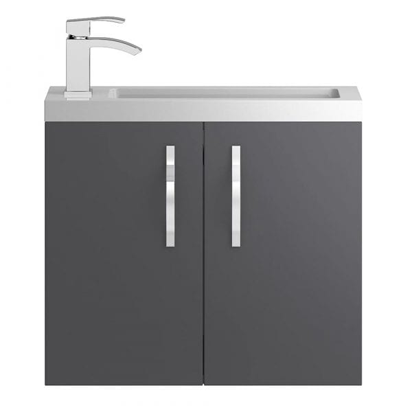 Hudson Reed Apollo Slimline Wall Hung 600mm Grey Gloss