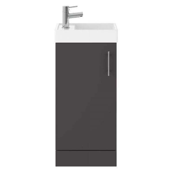 Vault 400mm Floor Standing Vanity & Basin Gloss Grey