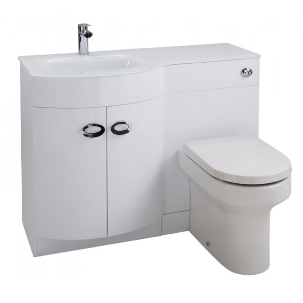 Pebble D Shaped White Vanity Unit and Glass Basin Left Hand