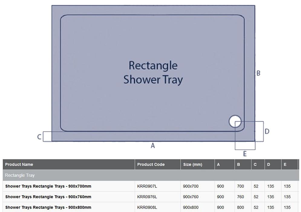 900 X 800 Rectangle Stone Resin Shower Tray K Vit Snh 163 69 56