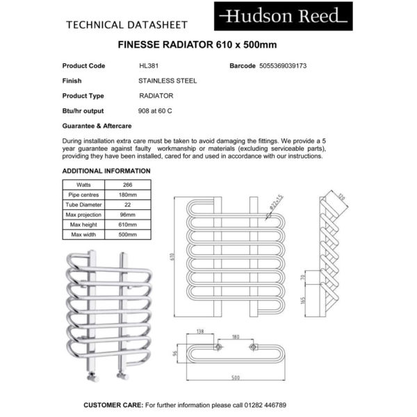 Hudson Reed HL381 Finesse Chrome Radiator