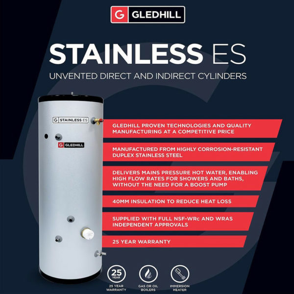 Gledhill ES 200L Direct Unvented Cylinder Stainless Steel