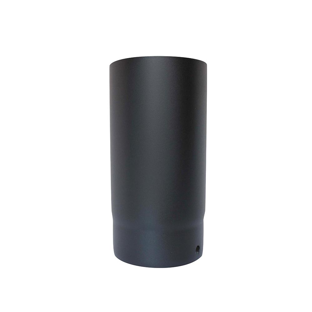 Vit Smooth Matt Black 125mm Vitreous Enamel Flue Pipe 250mm Long 12 Year Warranty