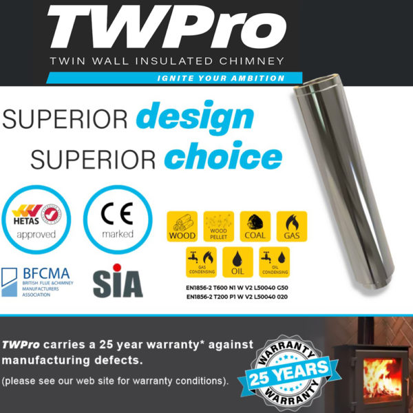 TWPro 125mmTwin Wall Insulated Pipe 500mm (non-condensing) Stainless Steel
