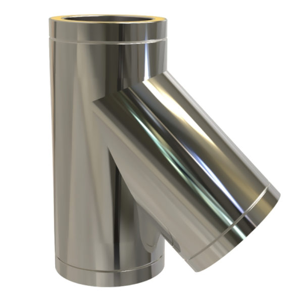 TWPro 125mm Twin Wall Insulated 135 Degree Tee Stainless Steel