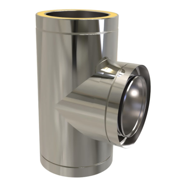 TWPro 125mm Twin Wall Insulated 90 Degree Tee Stainless Steel